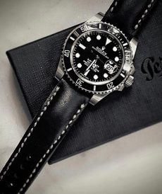 strap rolex 20mm - black padded - submariner, gmt master ii, daytona, explorer ii