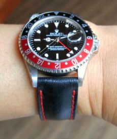 strap rolex custom tali jam tangan black padded red stitch gunny strap indonesia